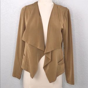 Forever 21 Draped Open Front Brown Blazer Small